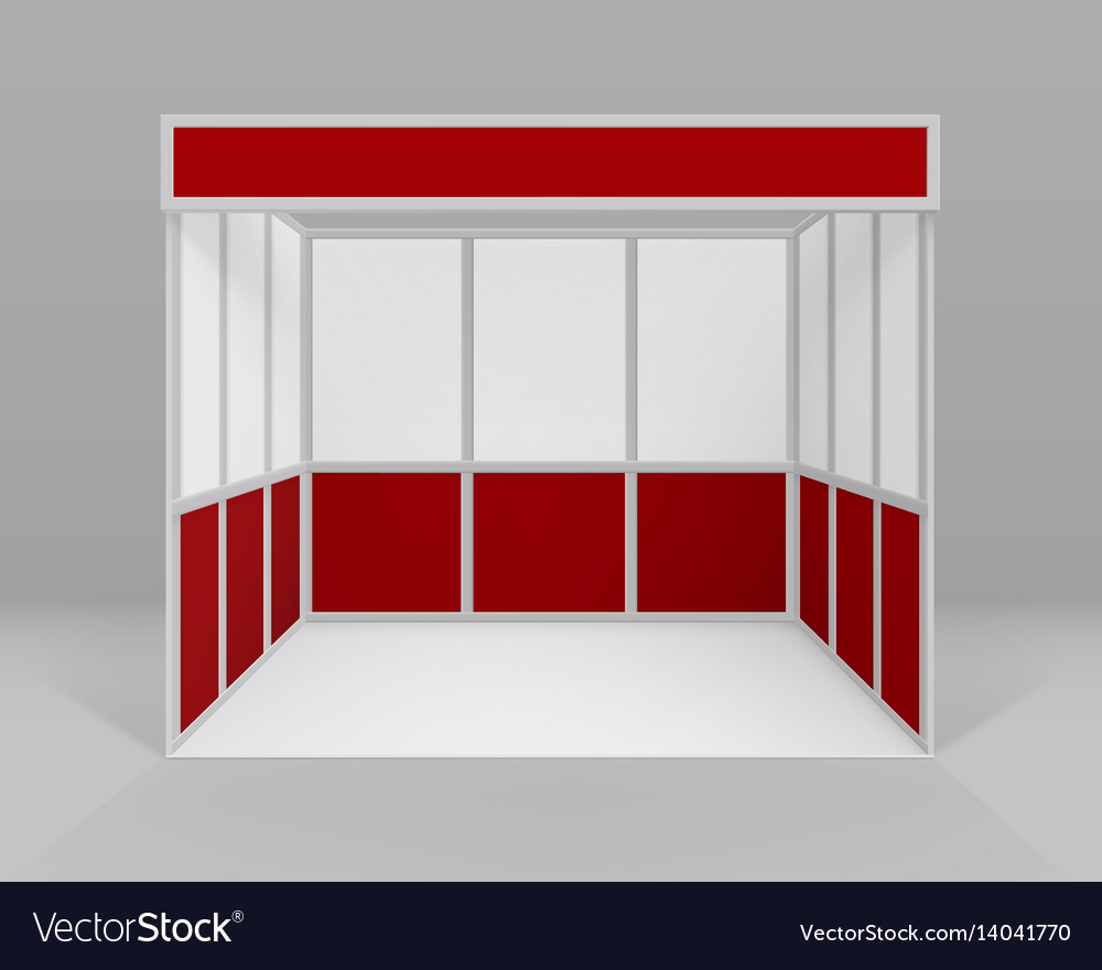 Exhibition Booth Stand : White red indoor trade exhibition booth stand vector image