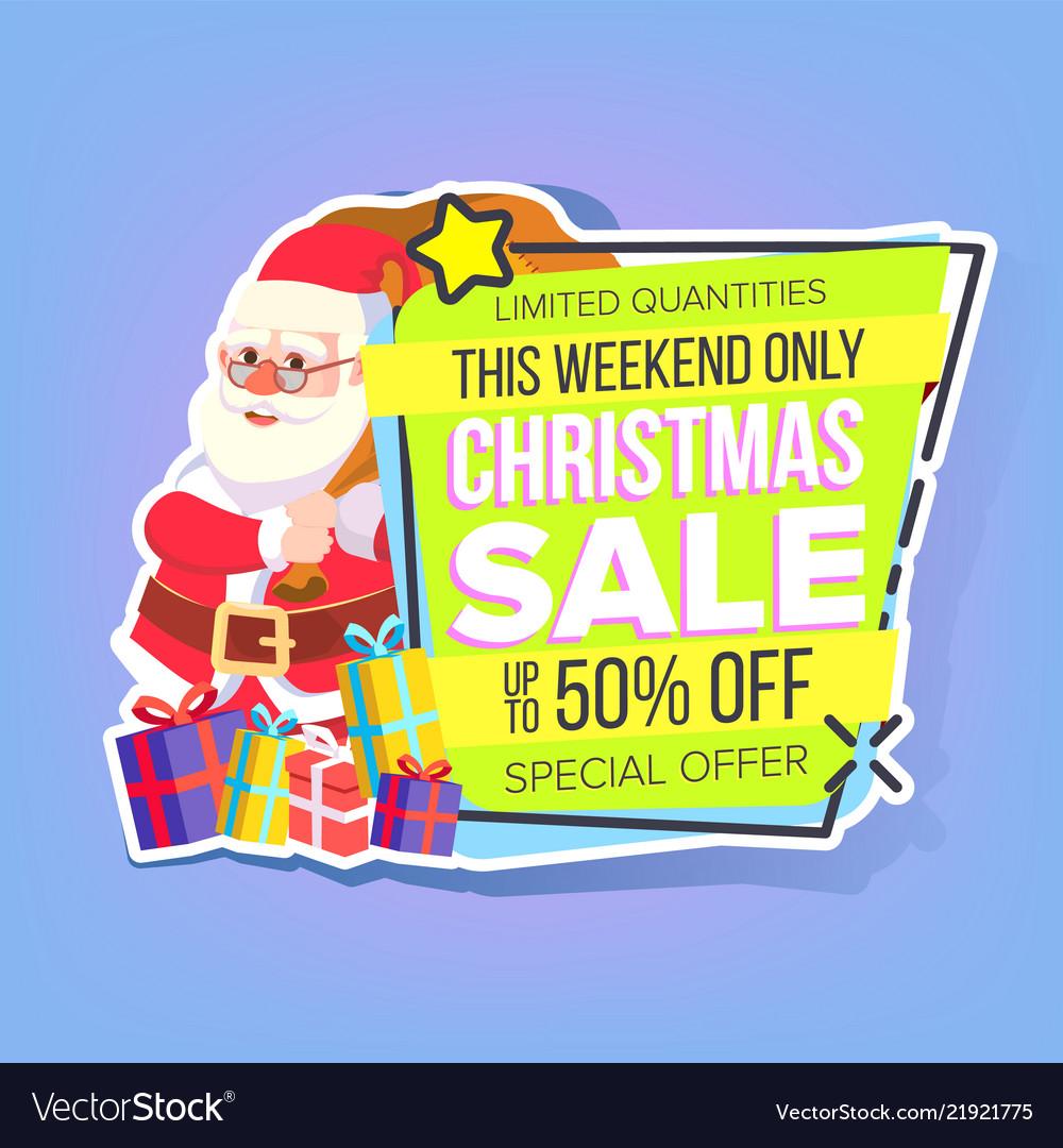 fc45bc3331de Christmas big sale sticker santa claus Royalty Free Vector