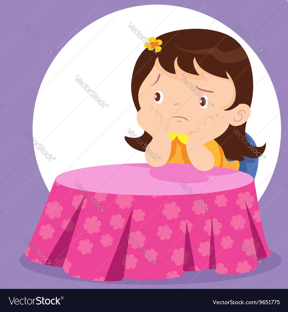 Cute girl waiting vector image