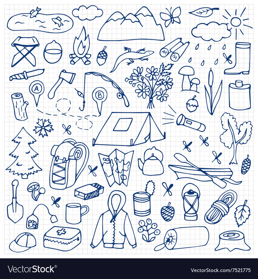 Hand drawn tourism set vector image