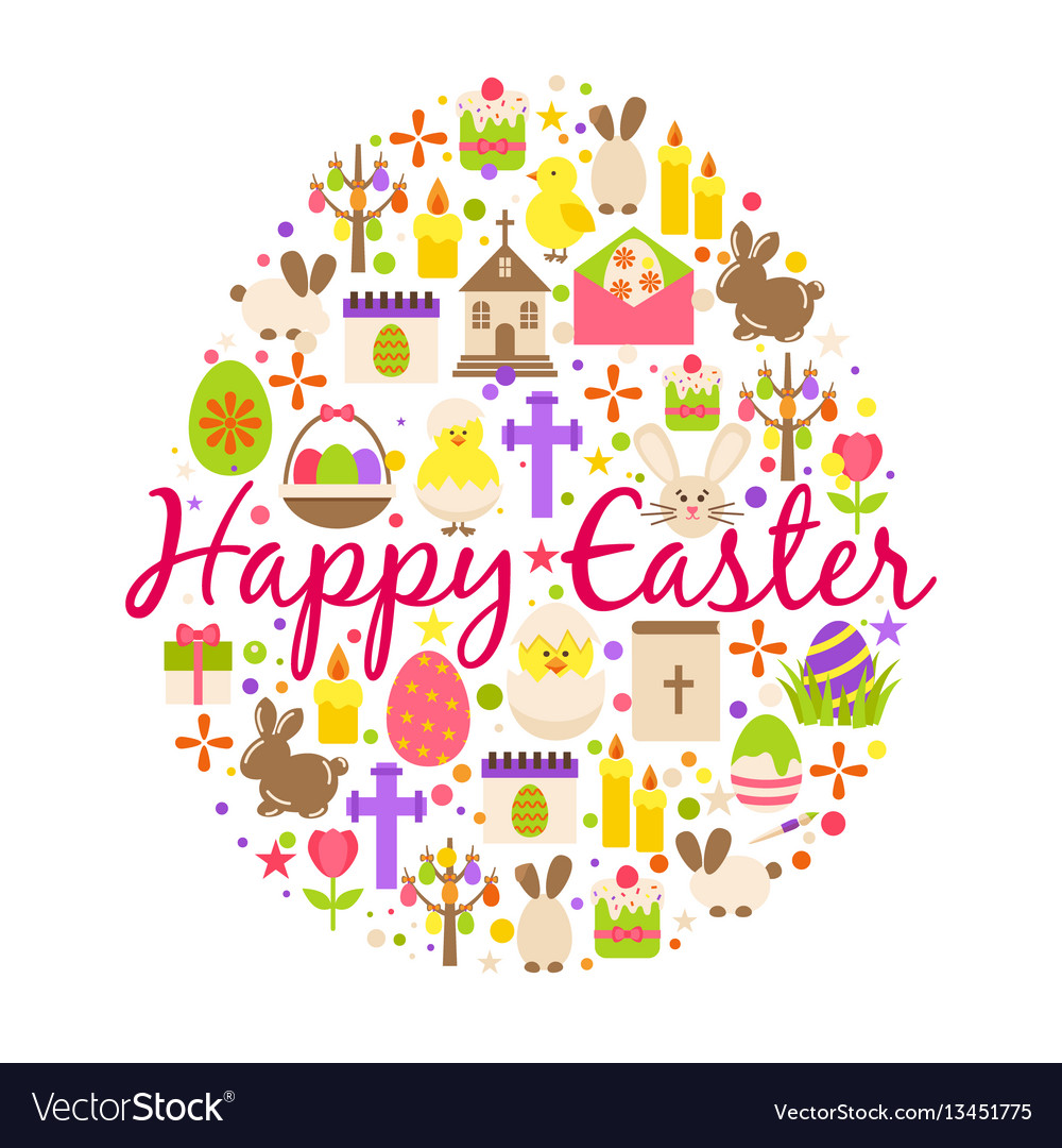 Happy easter greeting card cartoon decoration