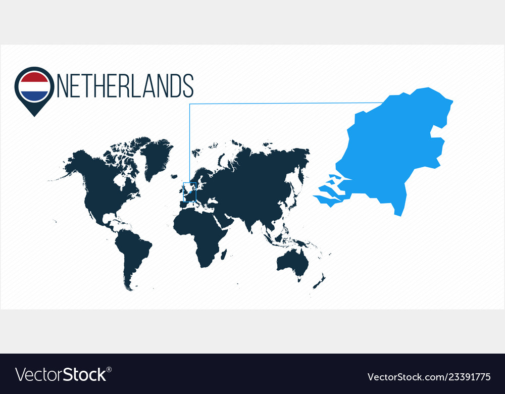 Netherlands location on the world map for Vector Image
