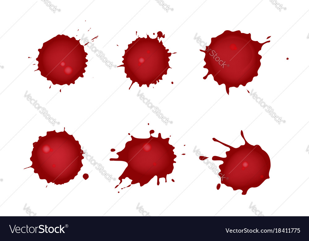 Realistic blood splatters set of six red ink vector image