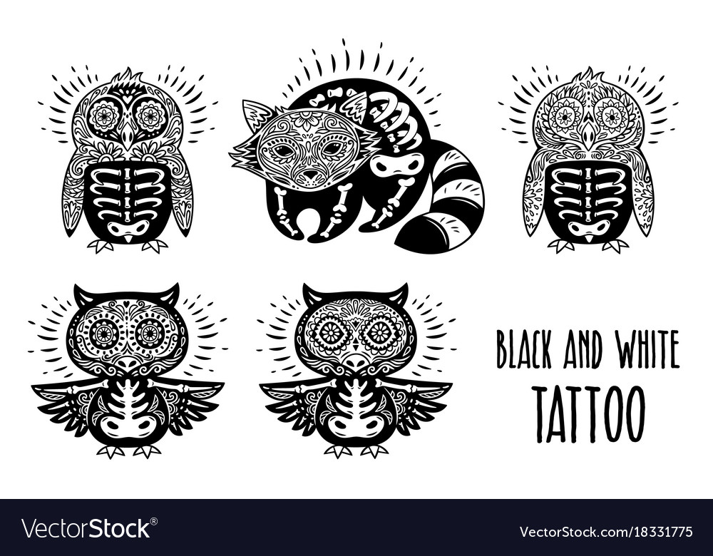 Sugar Skulls Black And White Tattoo Royalty Free Vector