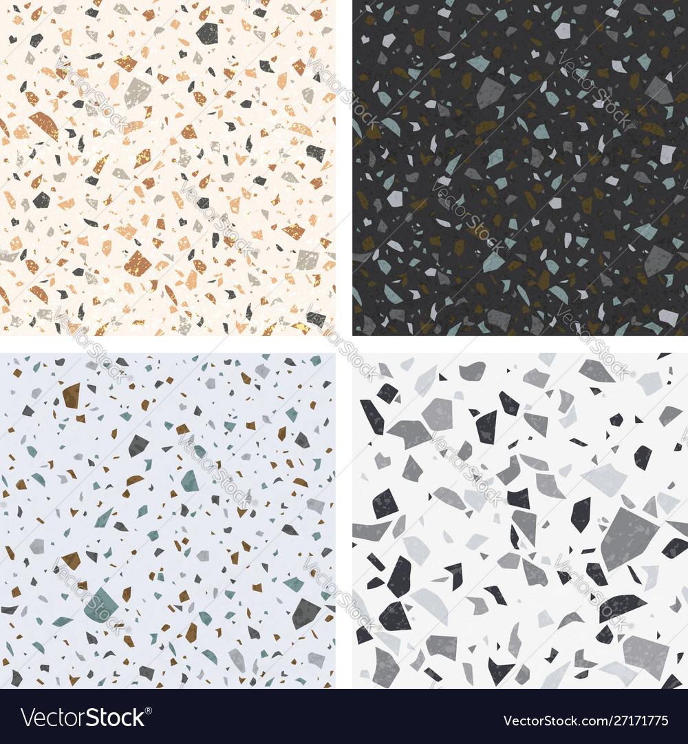 Terrazzo textures set seamless terrazzo