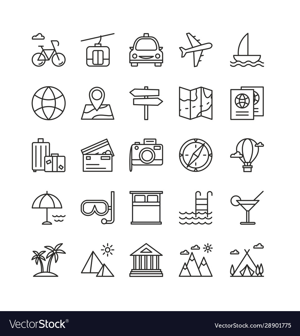 Traveling and recreation linear icons set