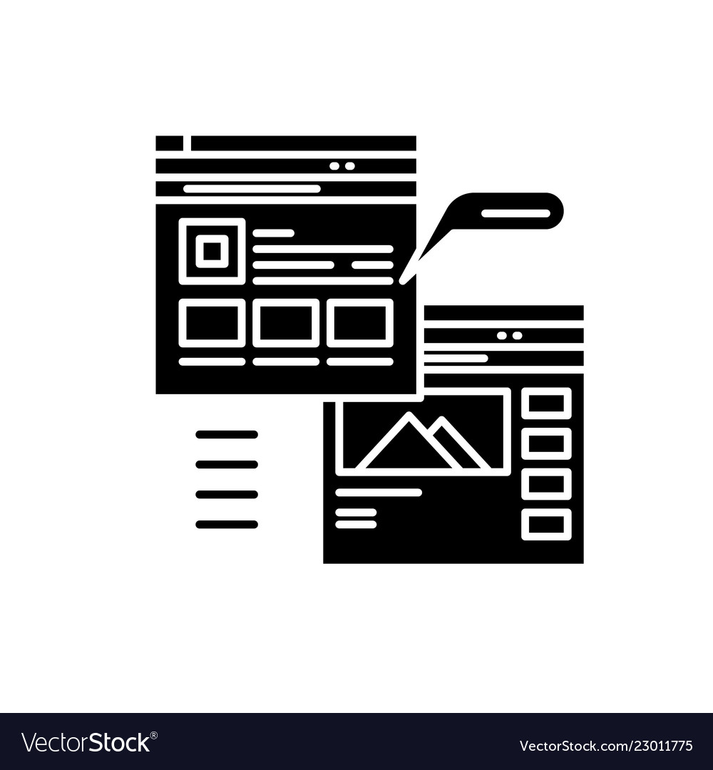 Webpage blogging black icon sign on
