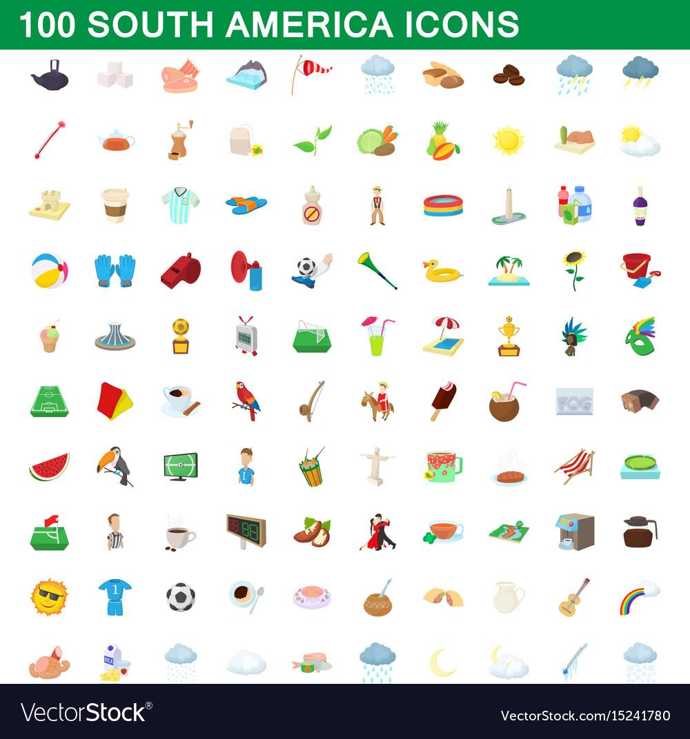 100 south america icons set cartoon style