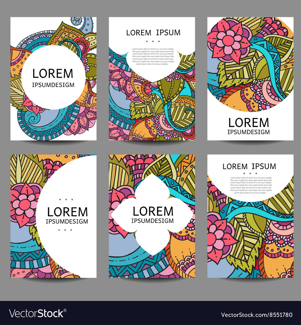 Abstract brochures in doodle styleDesign