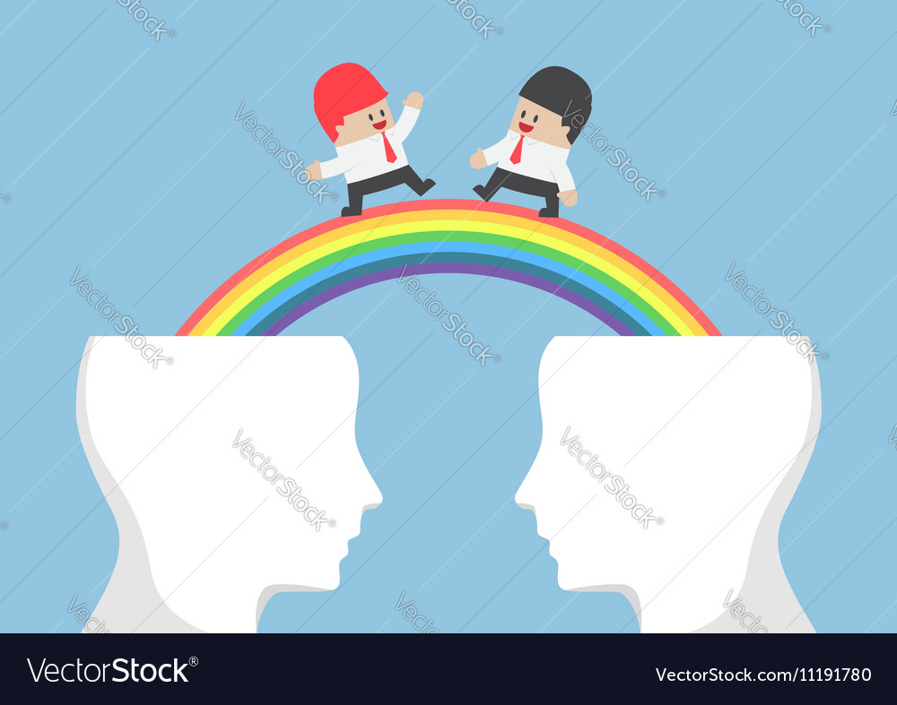 Businessman walking on rainbow from head vector image