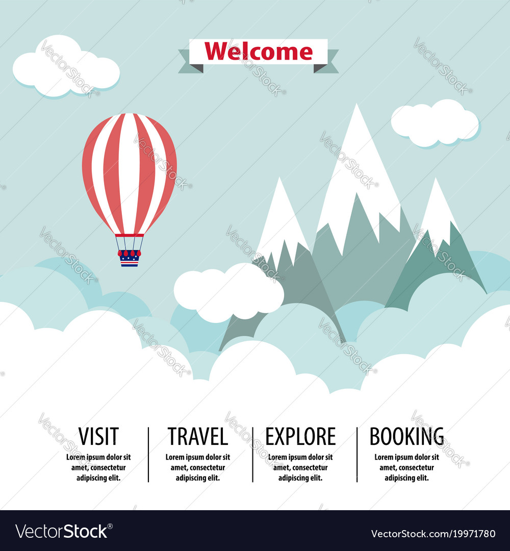 Country travel template flat