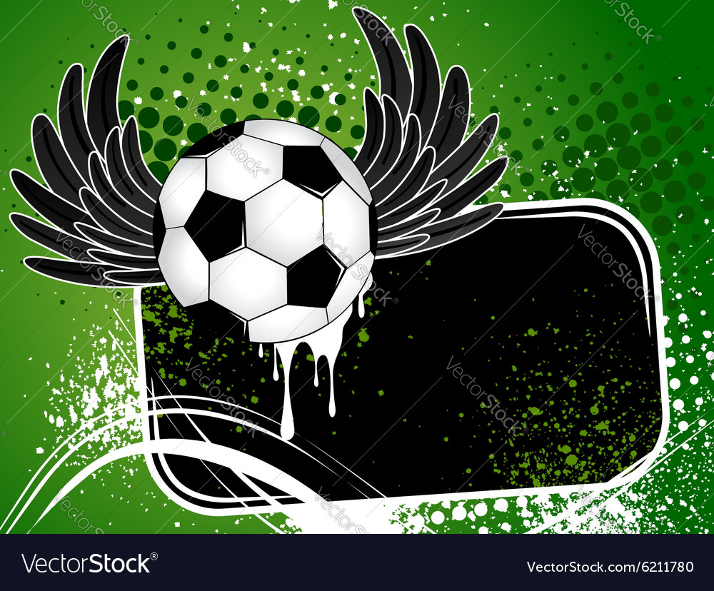 Football background with the ball wings