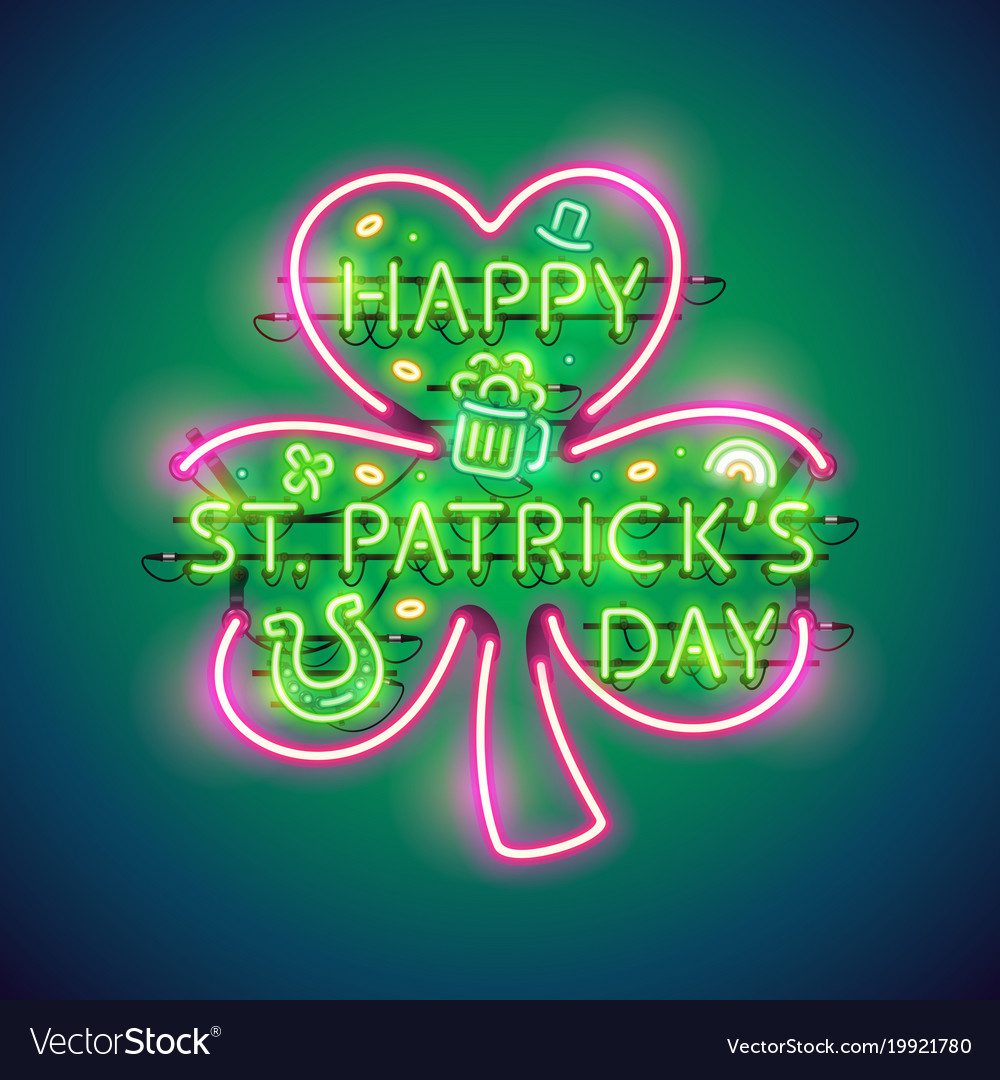 d9971903 Happy st patricks day neon sign Royalty Free Vector Image