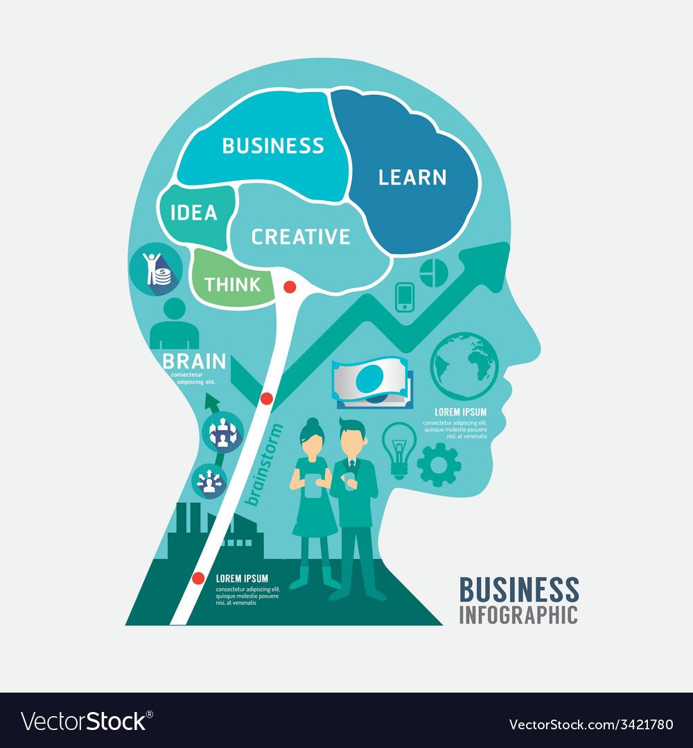 Infographics brain design business diagram templat vector image