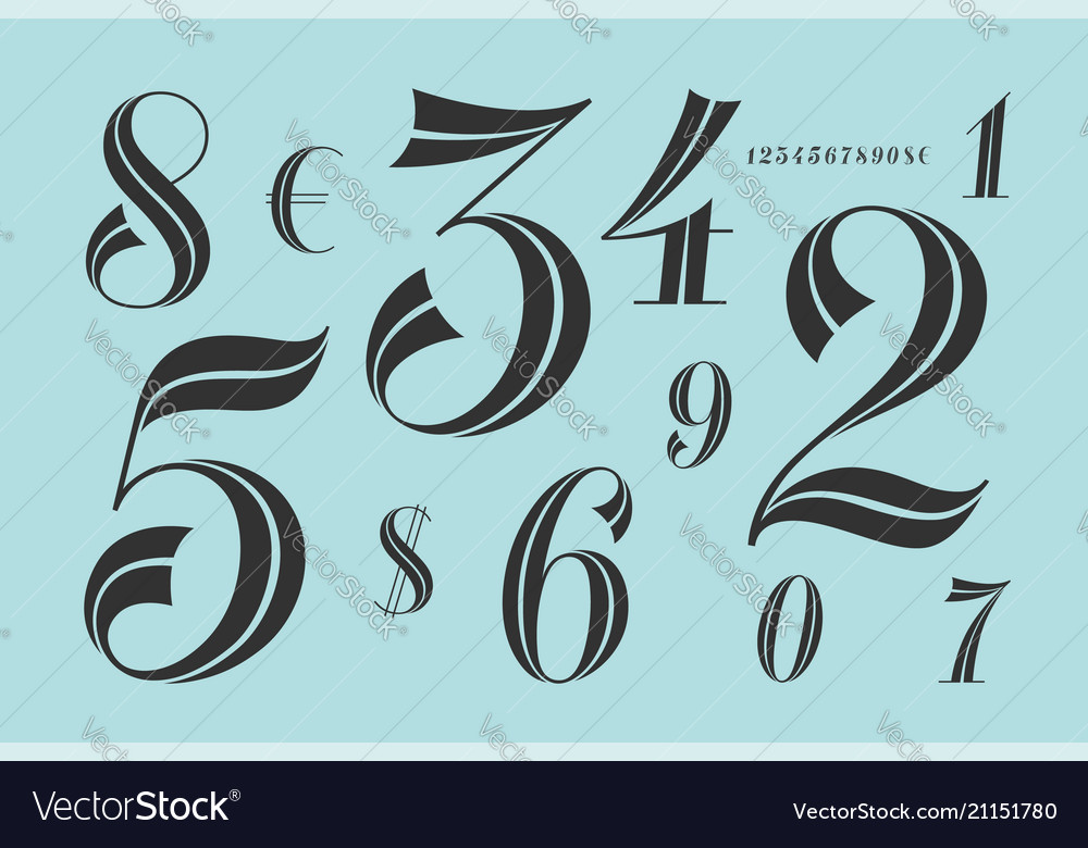 Numbers font classical elegant font