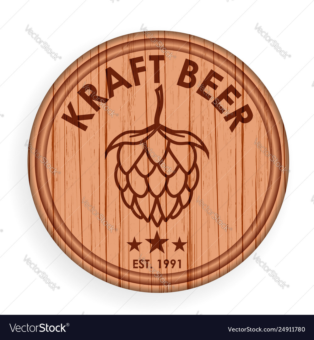 Round wooden signboard beer design elements