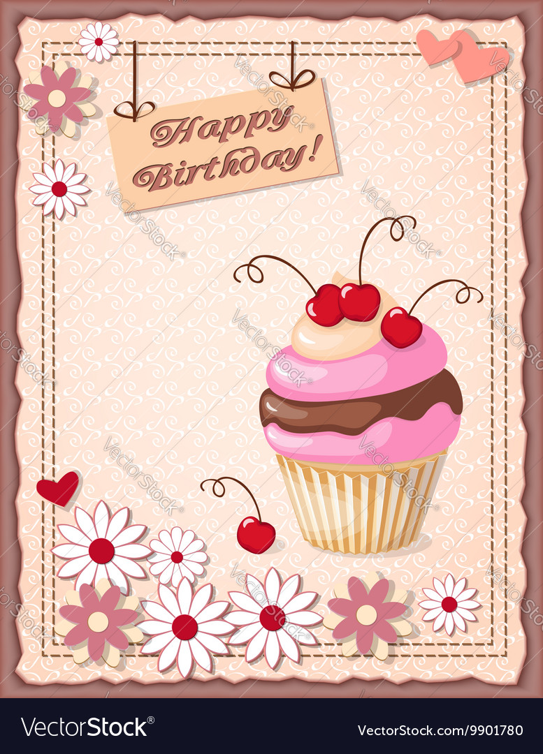 Scrapbooking birthday card with cupcake