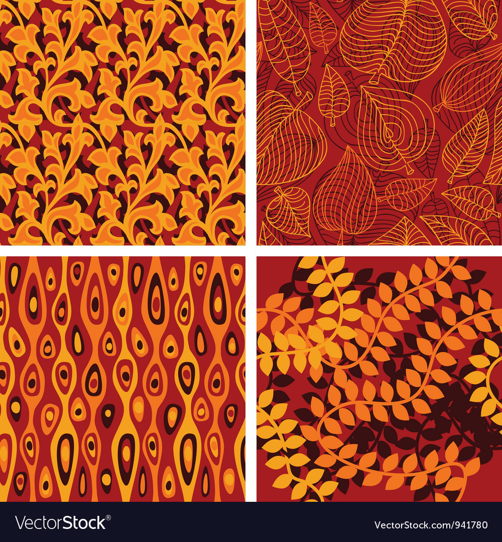 Set seamless patterns with floral elements