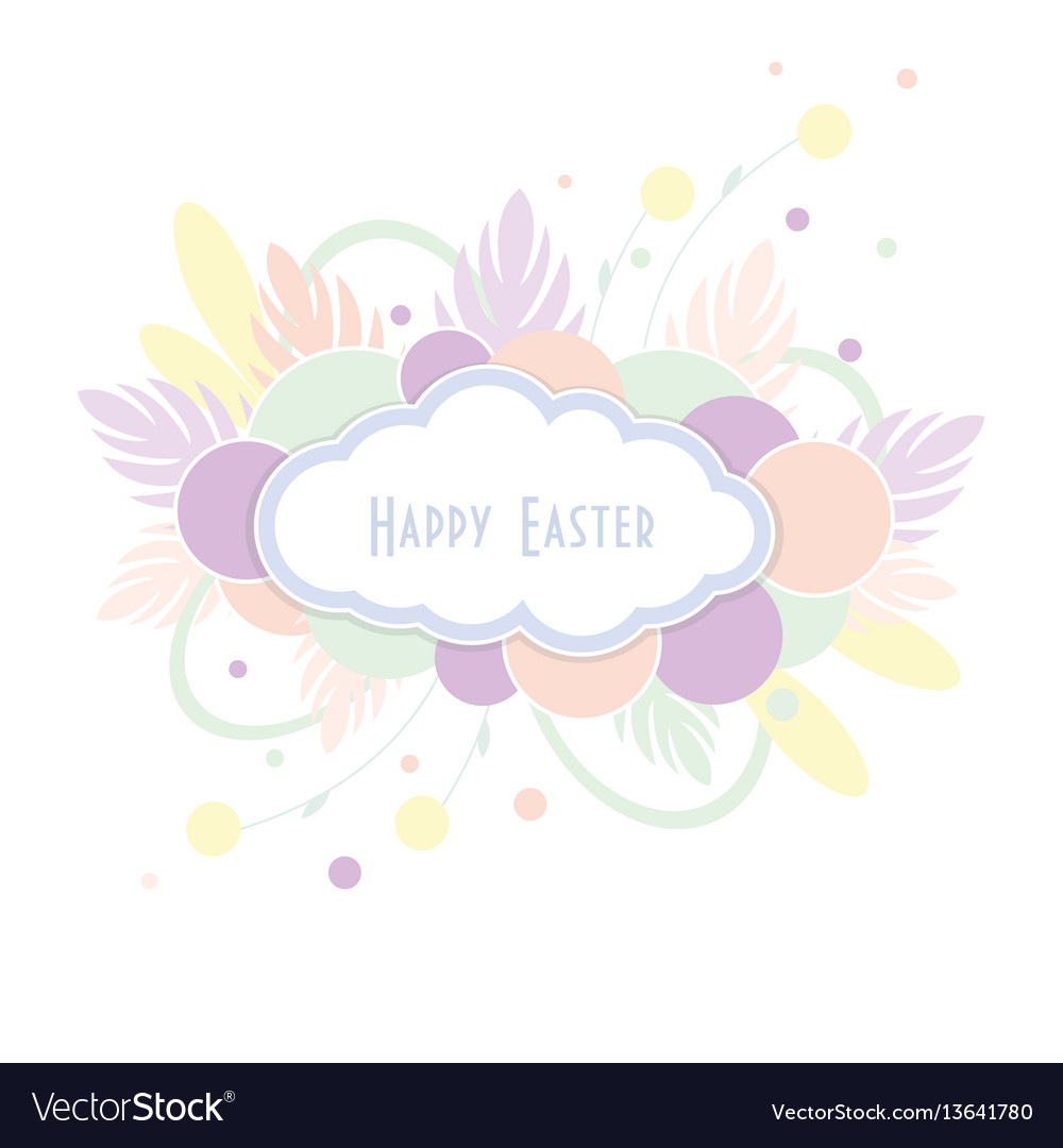 Text happy easter in cloud on colorful background