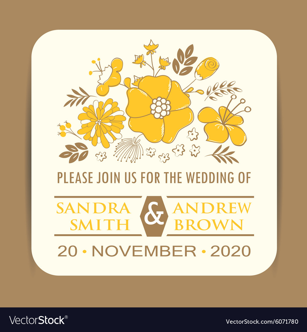 Wedding Invitation With Yellow Flowers Royalty Free Vector