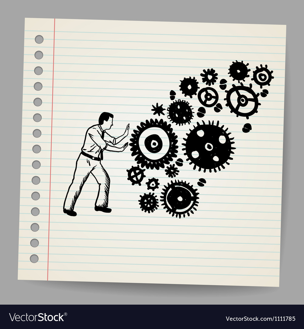Business man pushing a cogwheel doodle concept