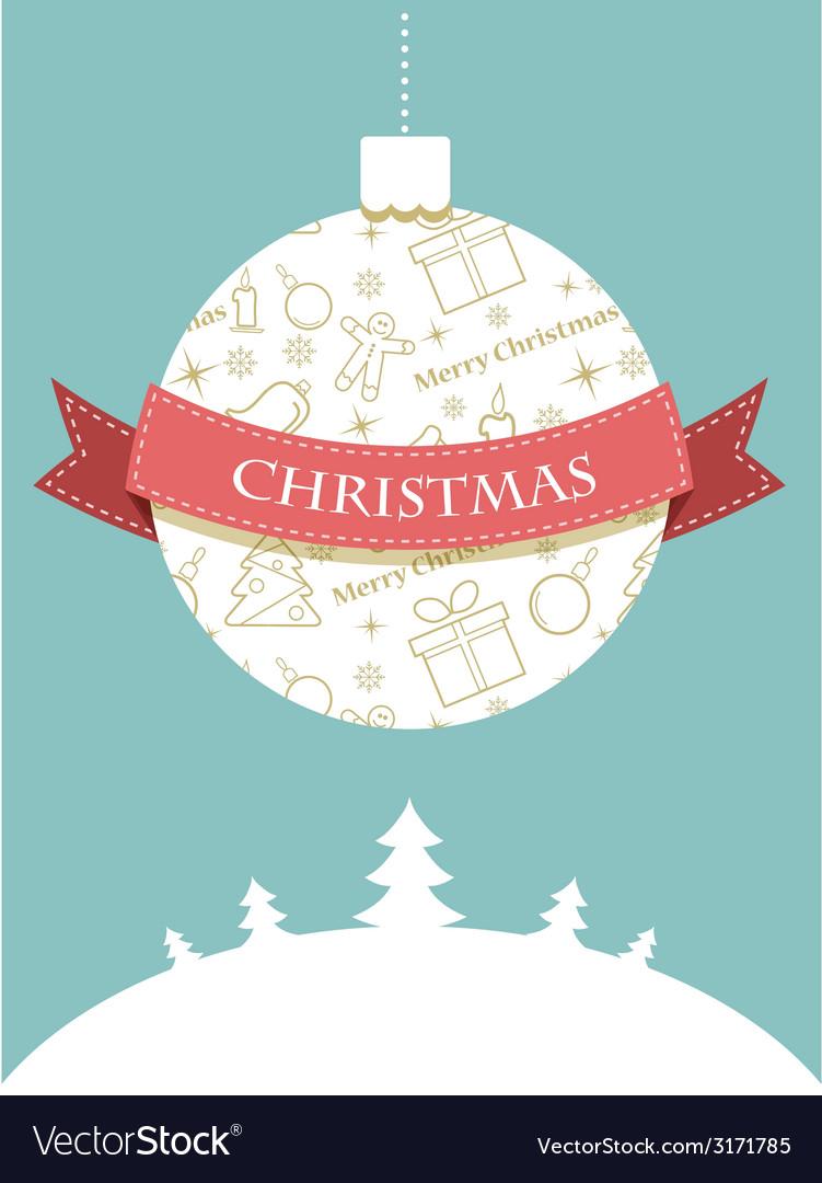 Christmas ball with seasonal objects pattern