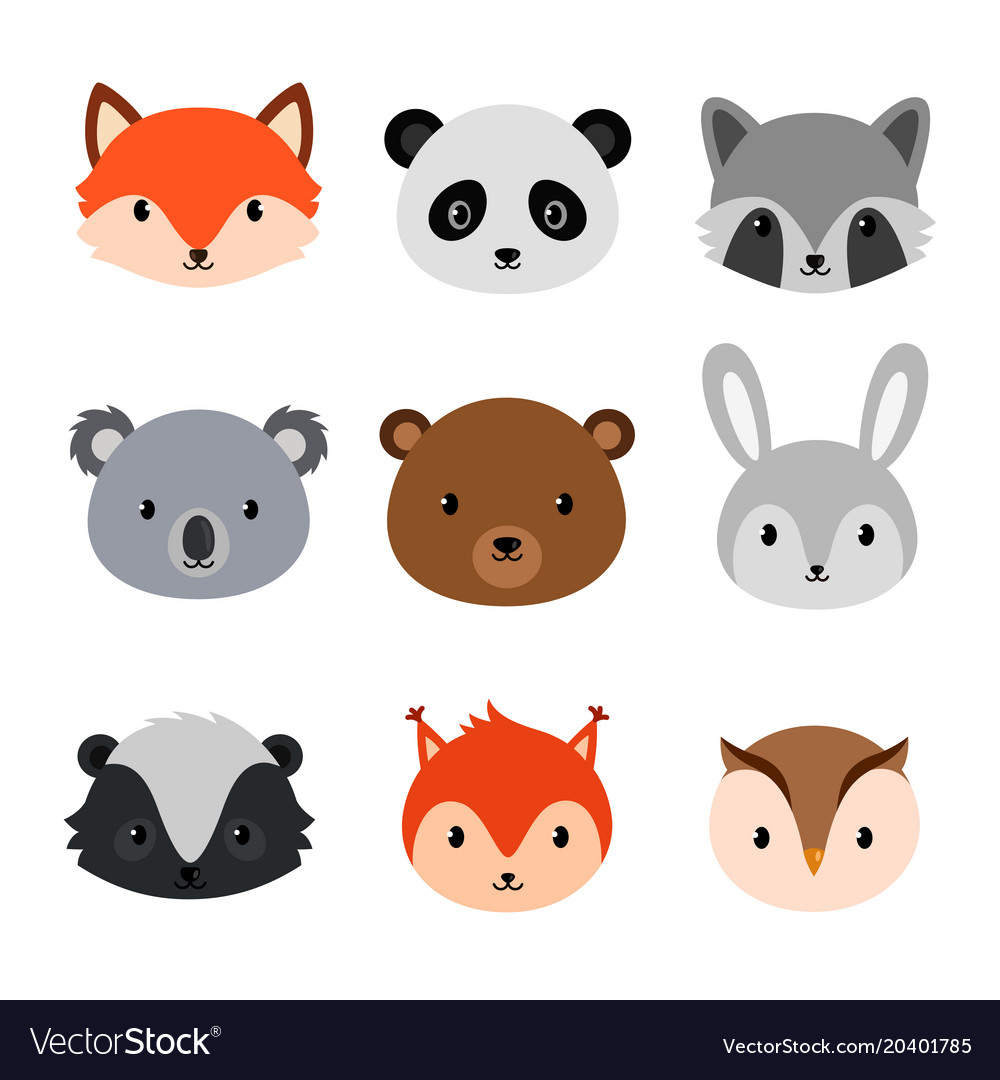 Cute animals collection flat style