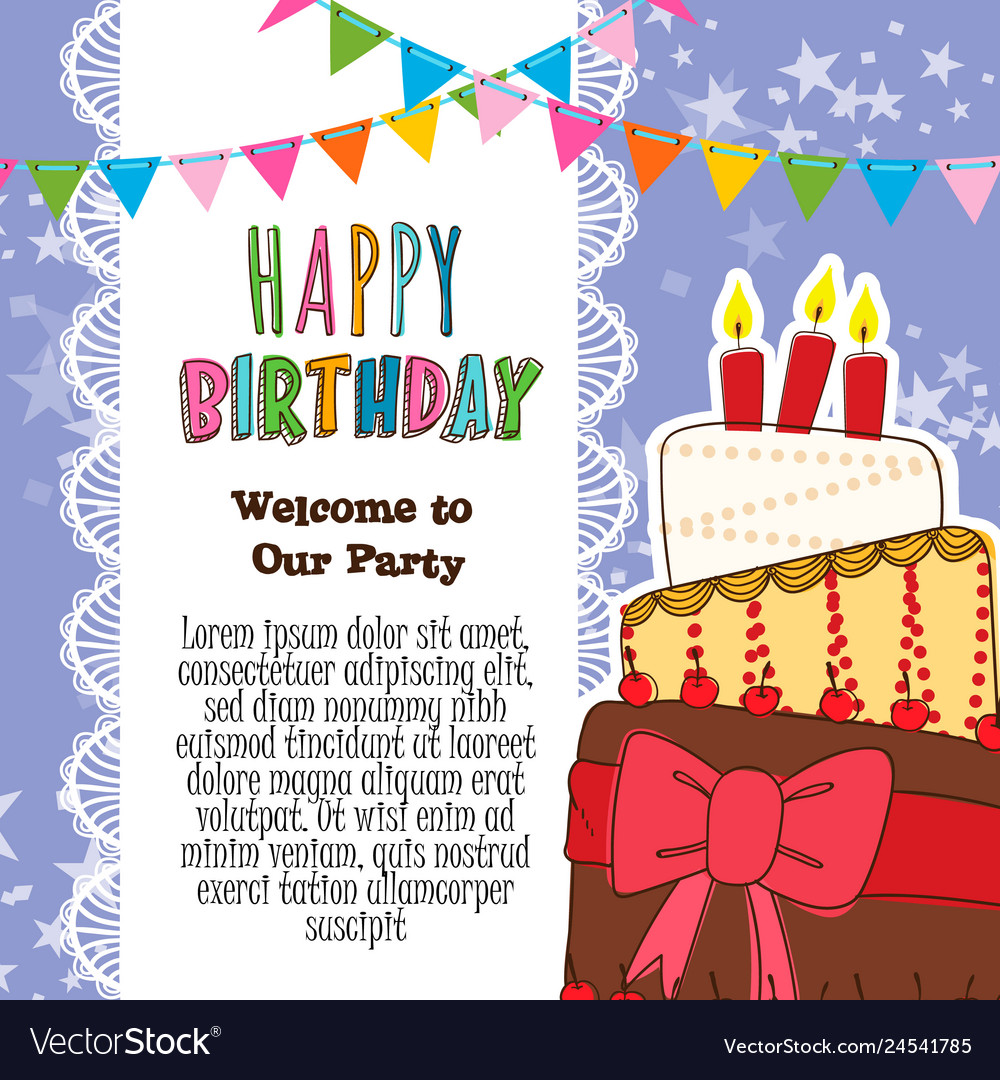 Strange Happy Birthday Invitation Card Royalty Free Vector Image Funny Birthday Cards Online Fluifree Goldxyz