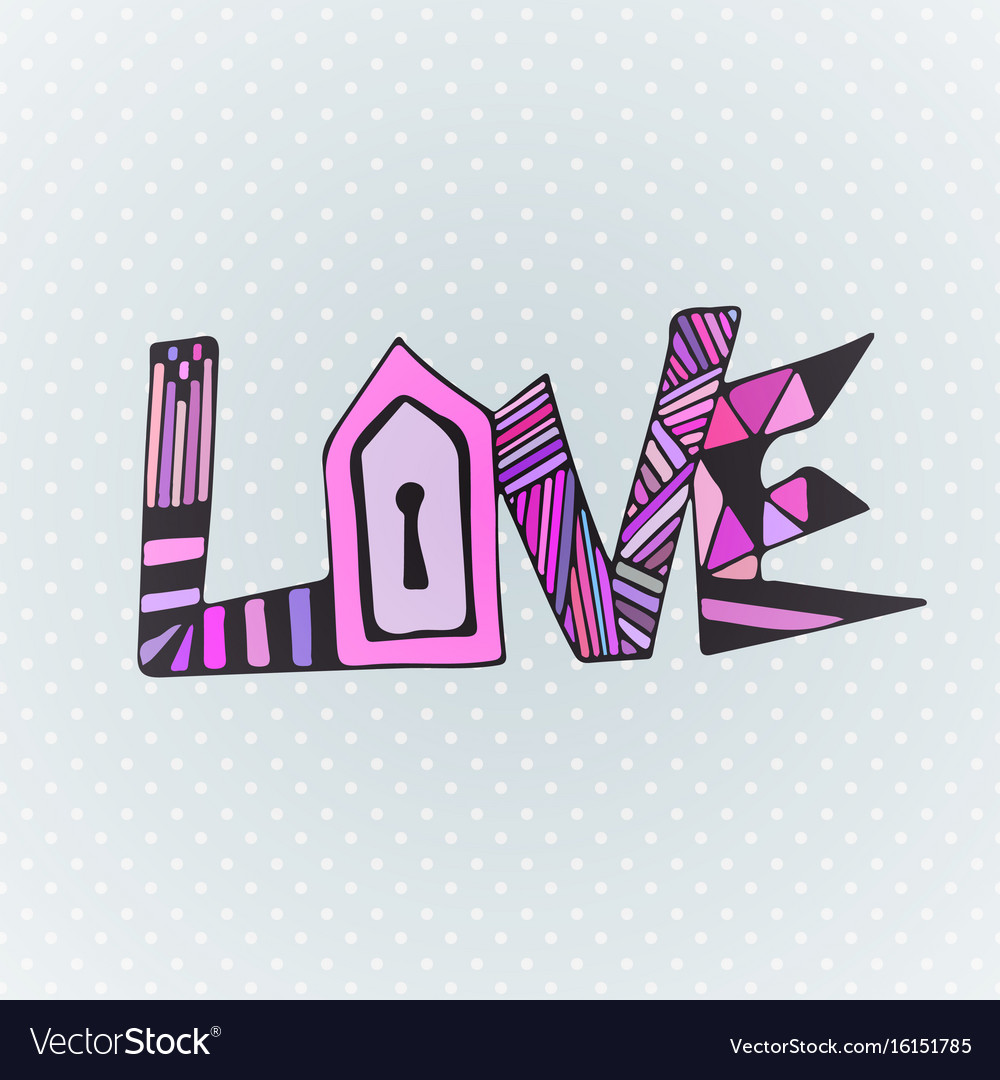 Love Zentangle Word Valentines Day Card Design Vector Image