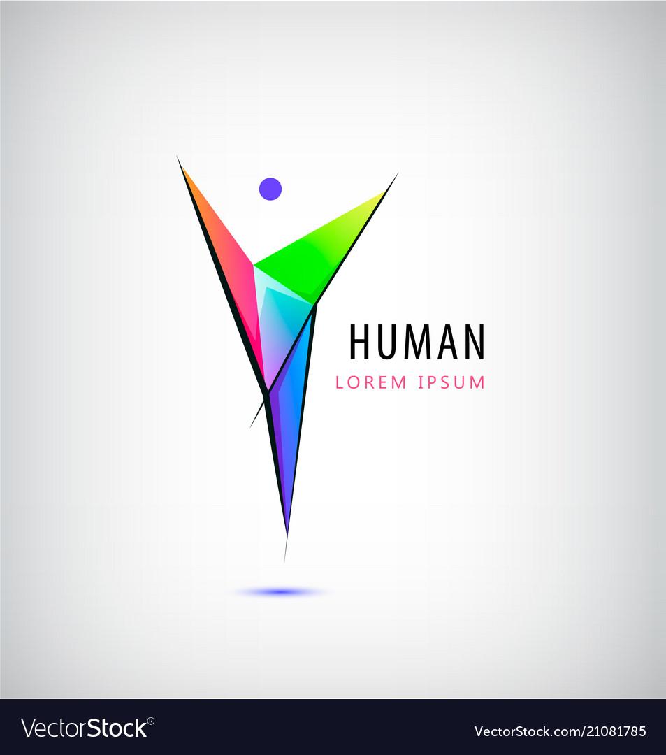 Man logo human body logo faceted