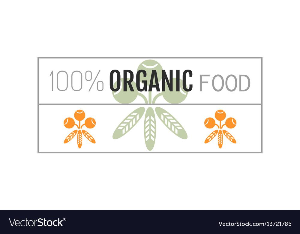 Organic food logo badge label for healthy