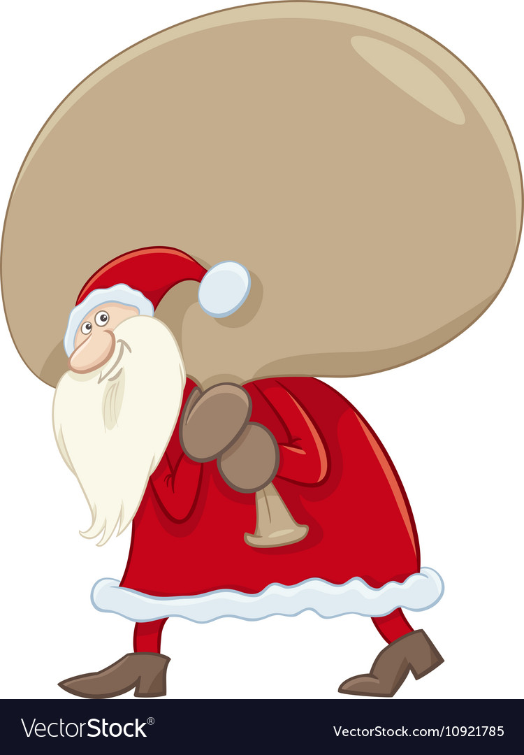 Santa claus with big sack vector image