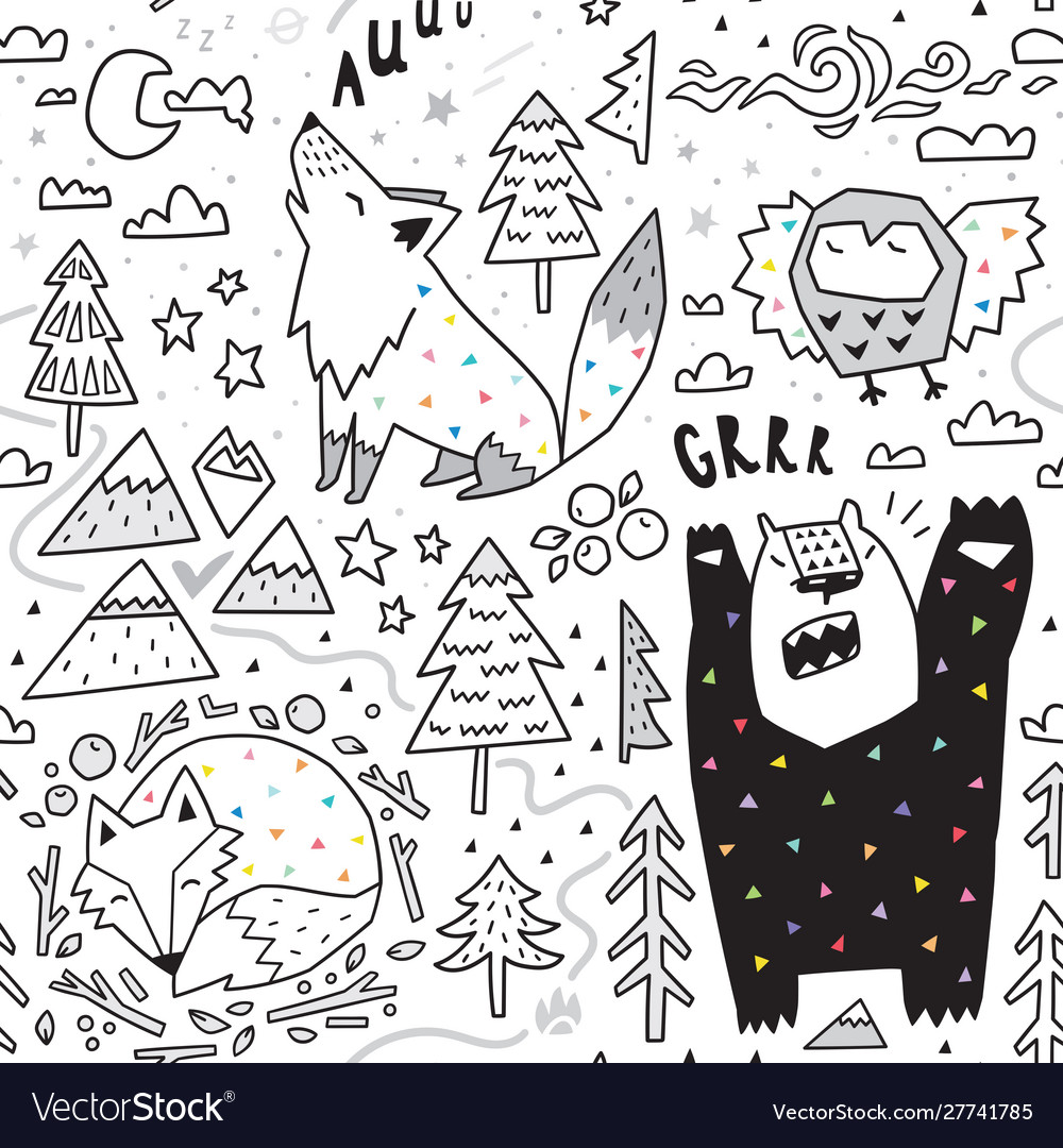 Seamless pattern cute animals - fox bear owl