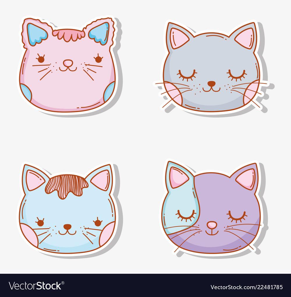 Set cats head pet animal