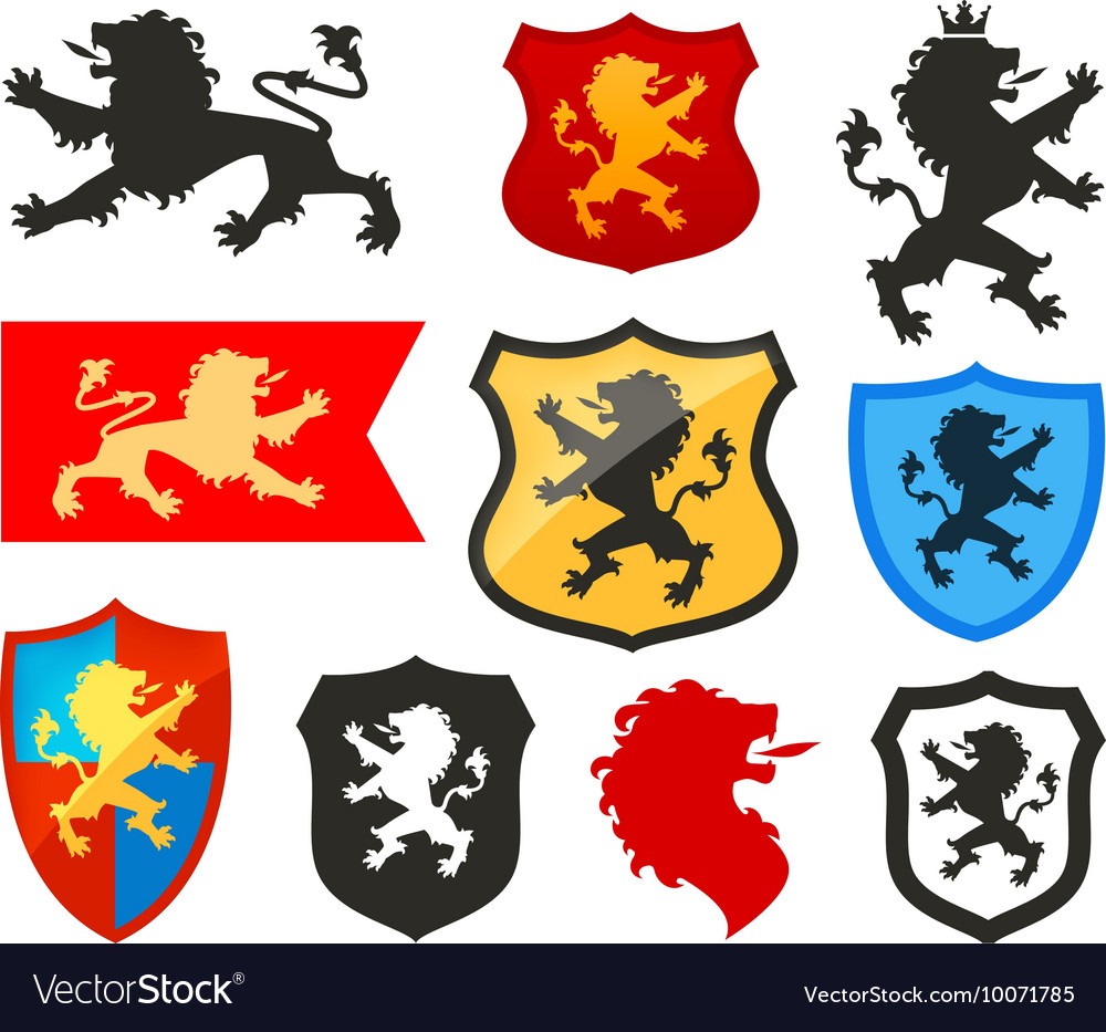 Shield With Lion Heraldry Logo Coat Of Royalty Free Vector