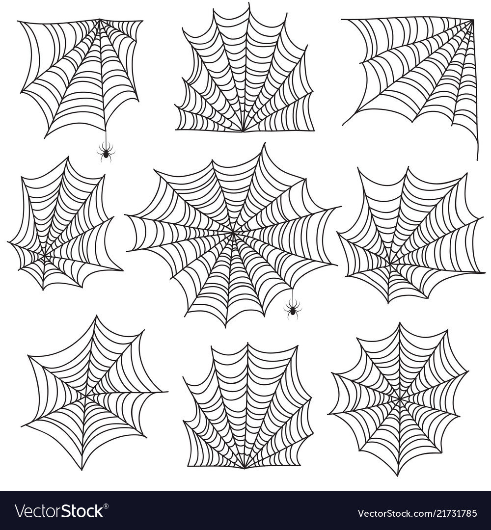 Spiderweb spooky cobweb and web corners with