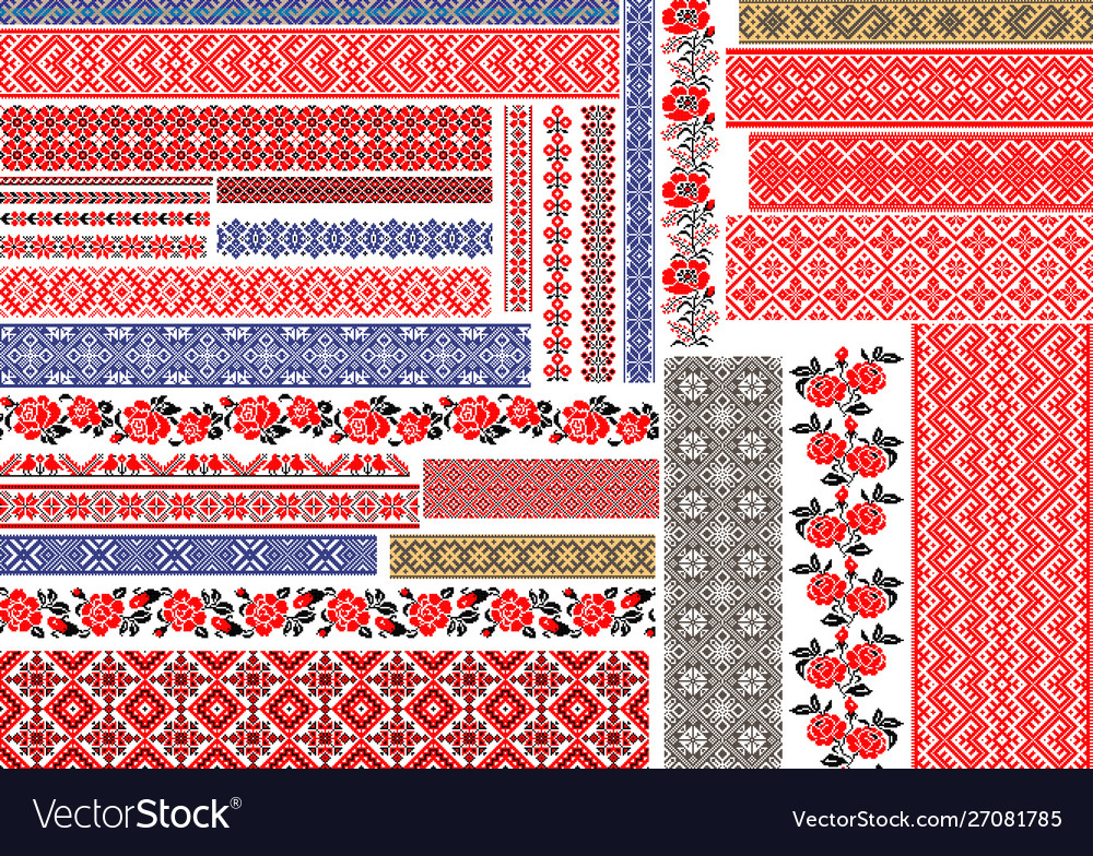 Traditional ukrainian seamless ethnic embroidery vector