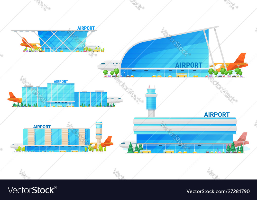 Airport terminal building and airplane icons