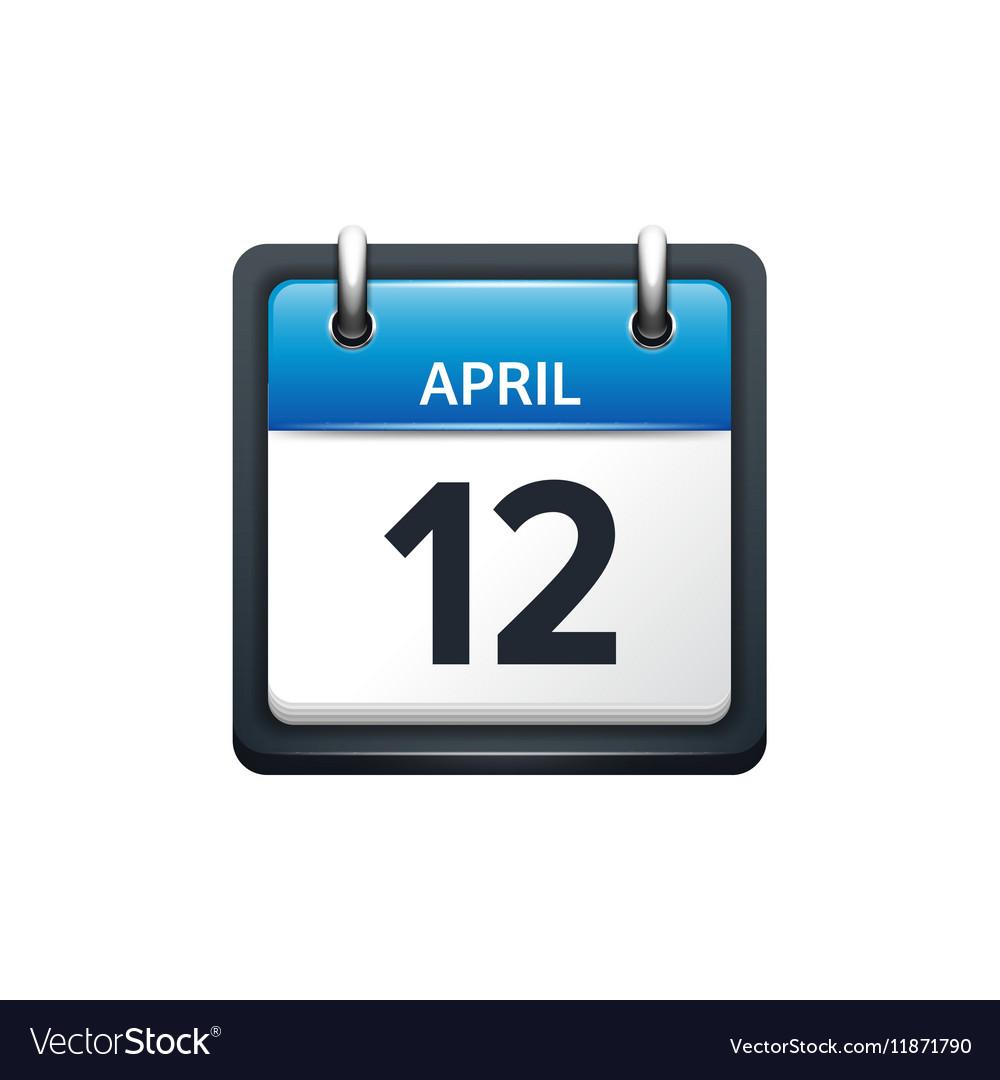 April 12 Calendar icon flat vector image
