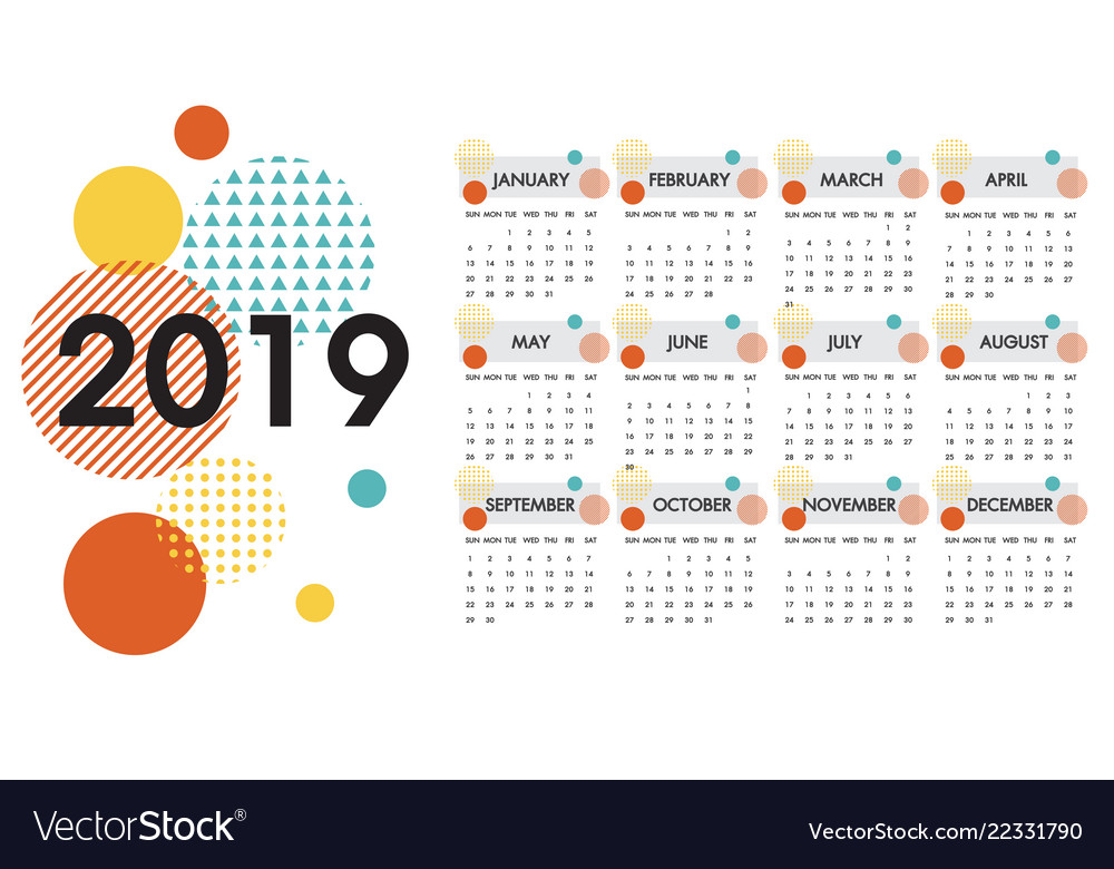 Calendar For The Year 2019 Calendar for the year 2019 white design Royalty Free Vector