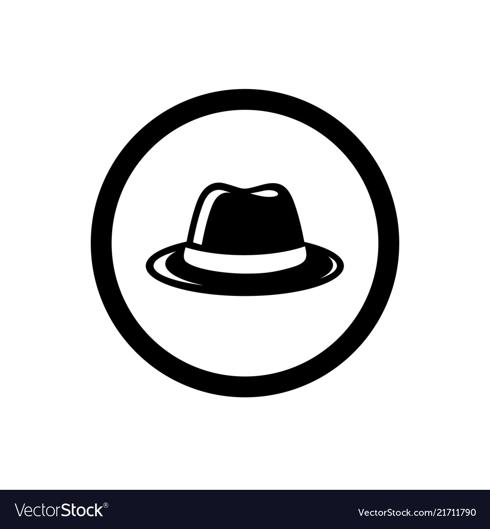 Fedora Hat Symbol And Circle Outline Royalty Free Vector