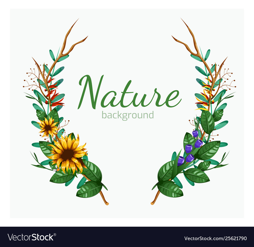 Green floral banner with isolated on white