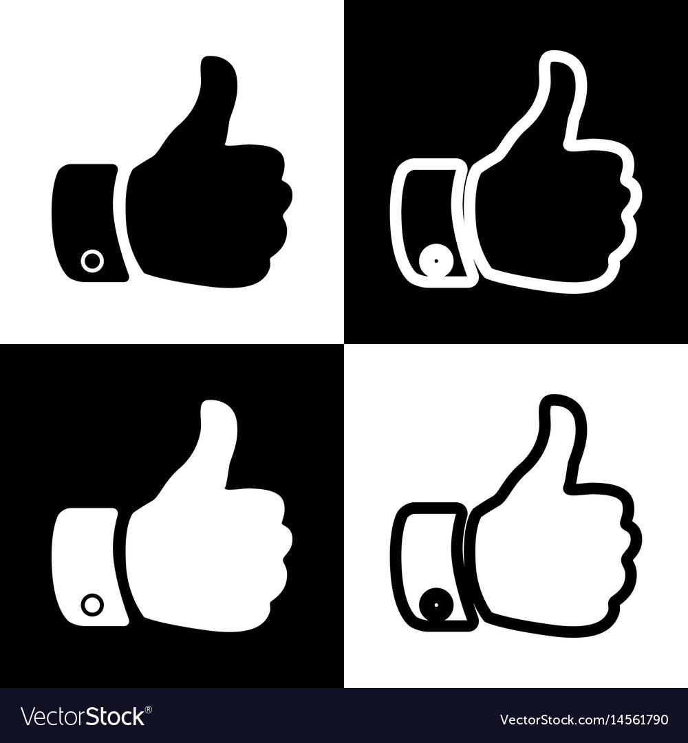 Hand sign black and white vector image