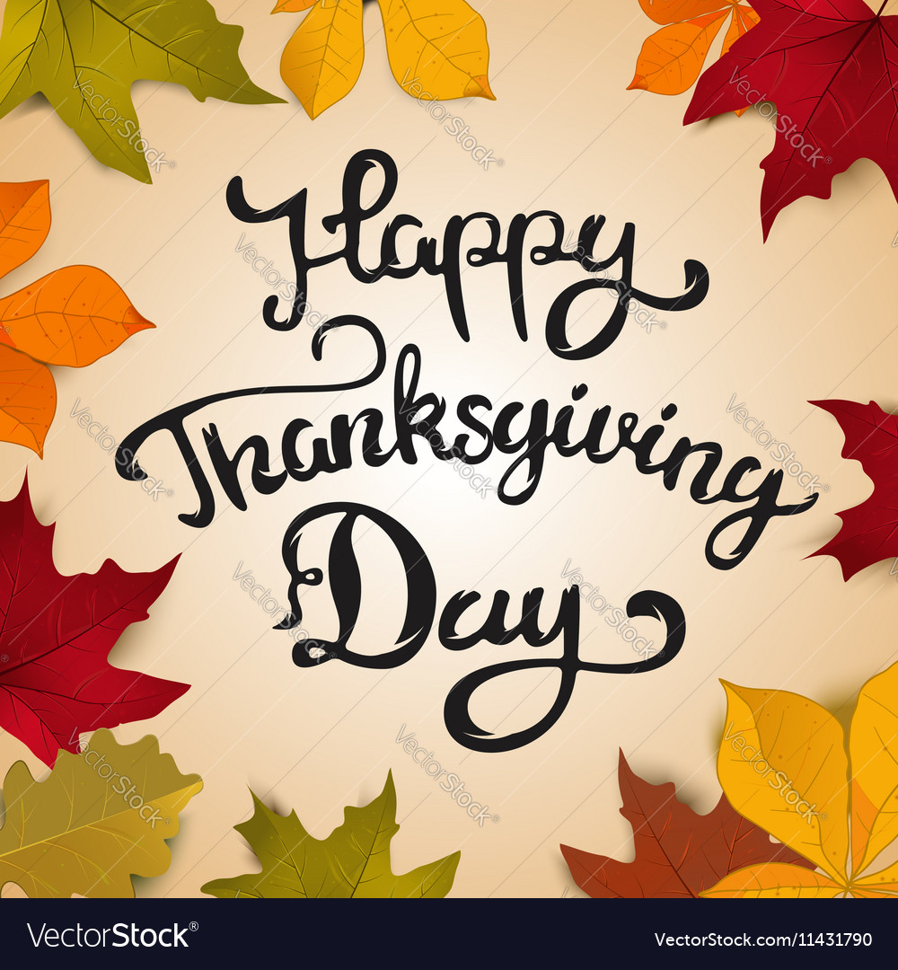 Happy thanksgiving day hand drawn lettering on