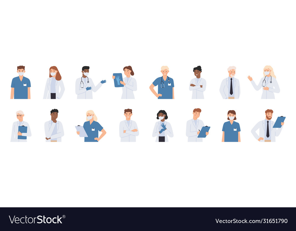 Hospital staff doctors in white coats portrait