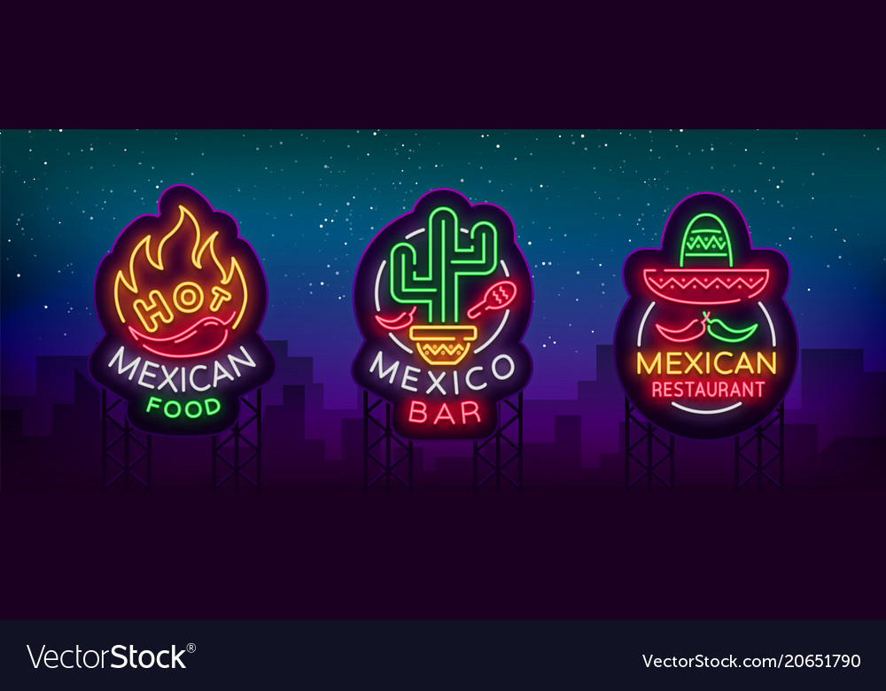 Mexican food is a collection of neon signs bright