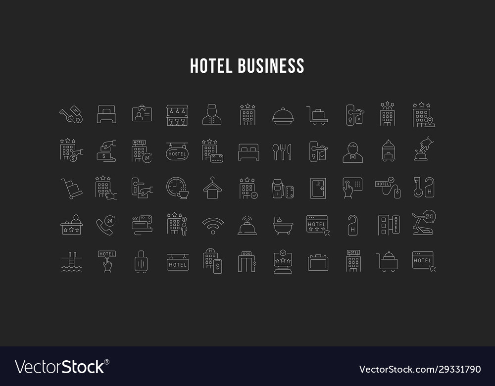 Set line icons hotel business