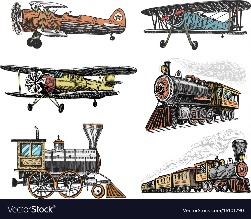 Set of passenger train and airplanes corncob or