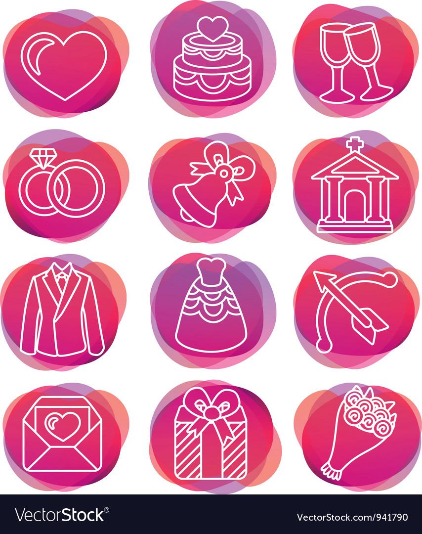 Set with wedding icons