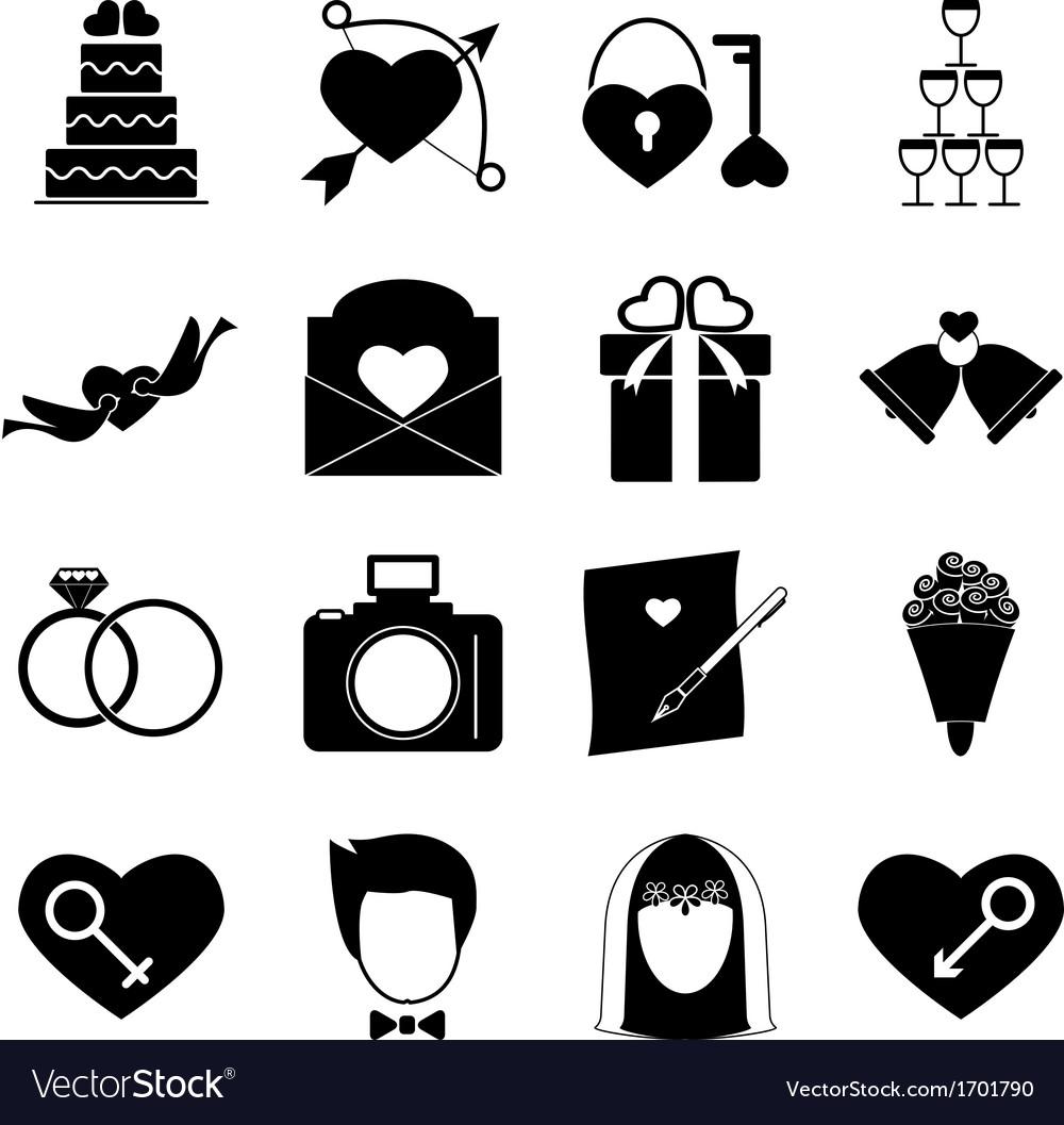 Wedding icons on white background